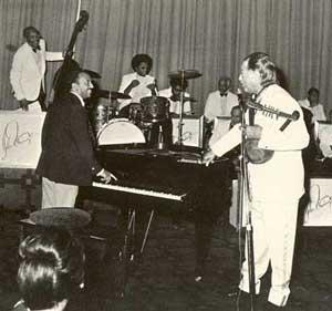 Mulatu Astatke and Duke Ellington together in Addis Ababa.