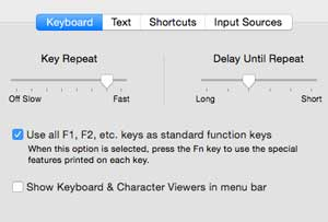 Mac System Preferences keyboard standard function keys