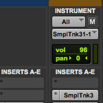 In Pro Tools, the Instruments view is above the Inserts view