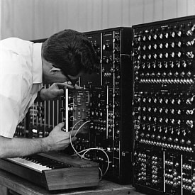 Modular synth testing at Moog's original factory.