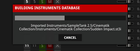 Progress bar for importing legacy instruments into SampleTank 3