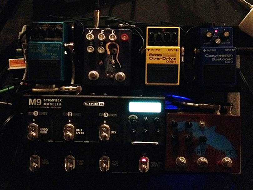 Left to Right, Top to Bottom: Boss Super Shifter PS-5, Fuzzrocious Rat Tail, Boss Bass Overdrive ODB-3, Boss Compression Sustainer CS-2, Line 6 M9, Dwarfcraft Eau Claire Thunder Fuzz