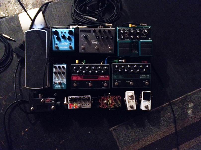 Left to Right, Top to Bottom: Ernie Ball VP JR, Strymon Blue Sky, Strymon Time Factor, Boss SL-20 Slicer, EarthQuaker Devices Organizer, Eventide Pitch Factor, Eventide ModFactor, ZVEX Fuzz Factory, Catalinbread Teaser Stallion Distortion, TC Electronic Spark Mini Booster, TC Electronic PolyTune Mini