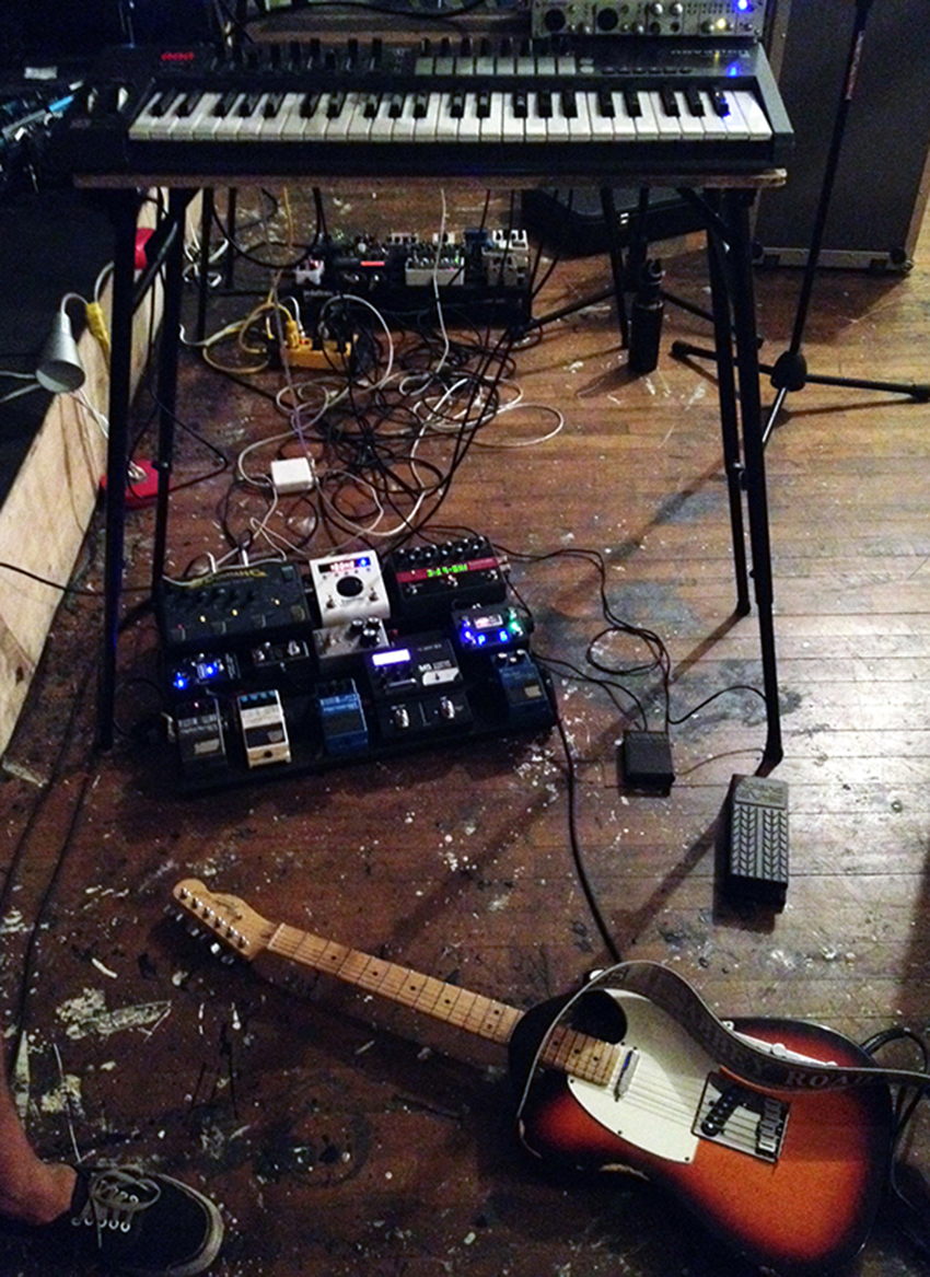 Top to Bottom: Kevin's Synth Setup, Pedalboard, Sustain Pedals and American Standard Telecaster