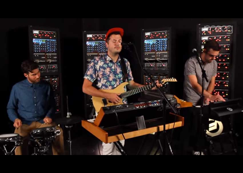 "Barcelona performing ""Fall in Love"" in the Moog Sound Lab"