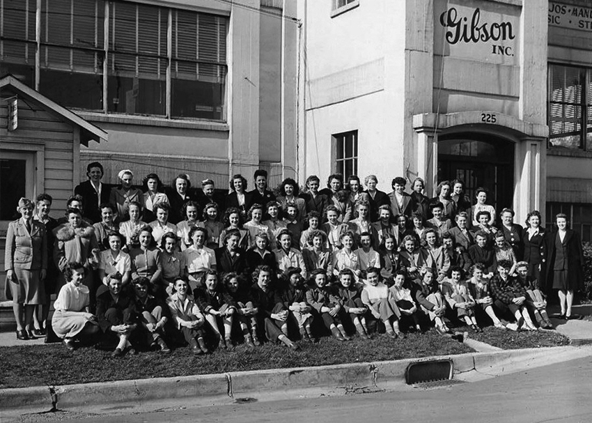 The Kalamazoo girls in front of the Gibson factory in Kalamazoo, MI circa 1944.