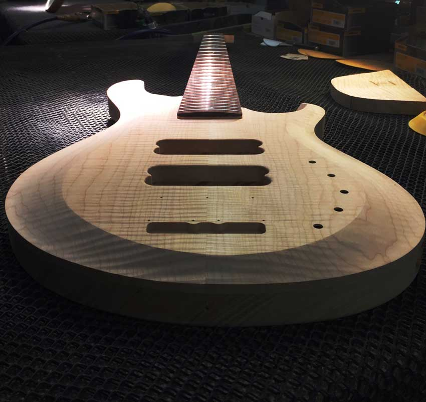 Carved top guitar before final sanding to smooth out the beveling. Photo credit: Billy P.