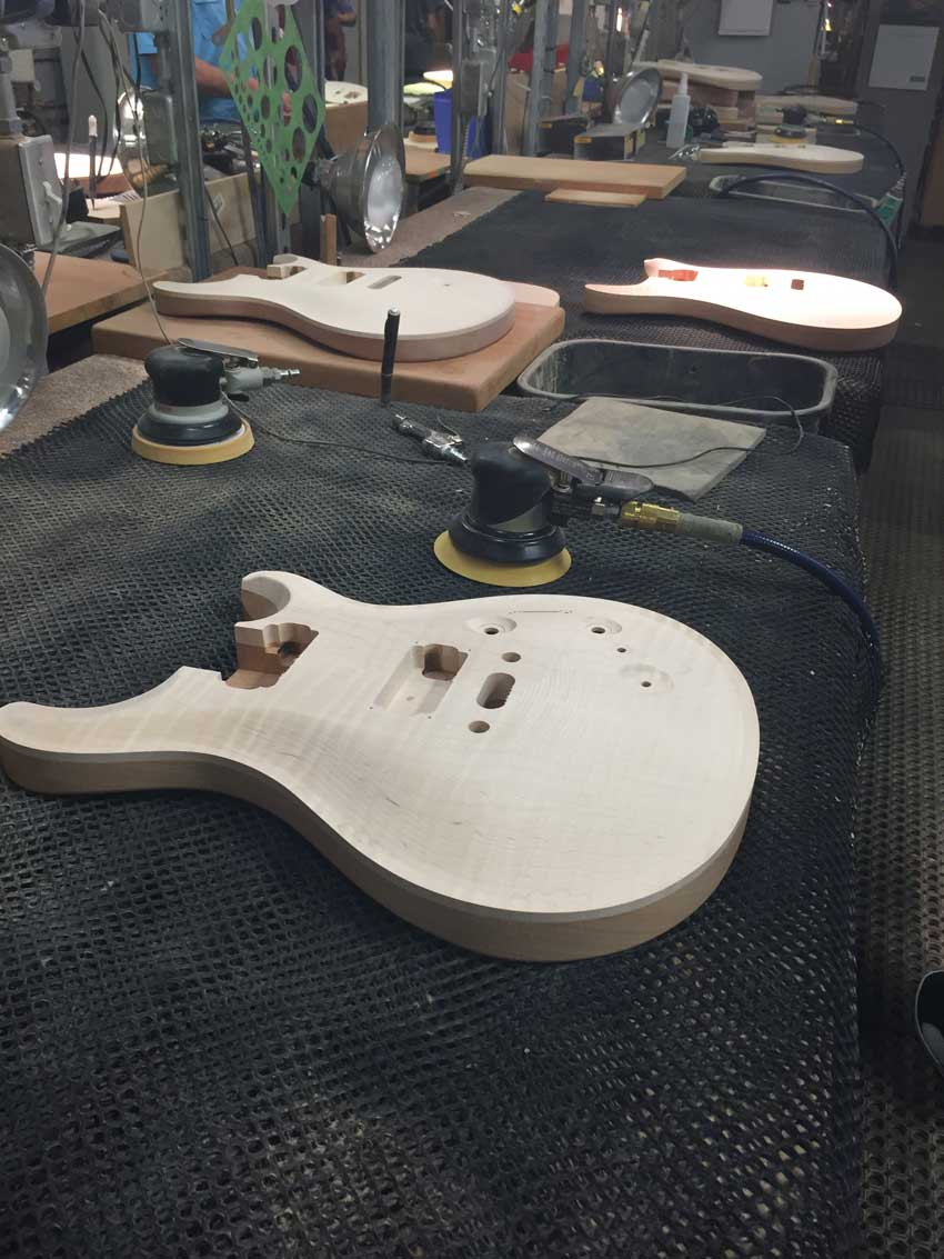 Bodies getting sanded at the factory. Photo credit: Sergio C.