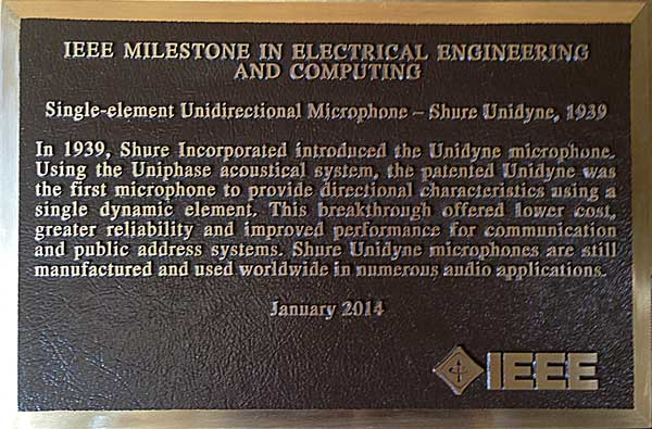 Shure's IEEE award for the Unidyne Microphone