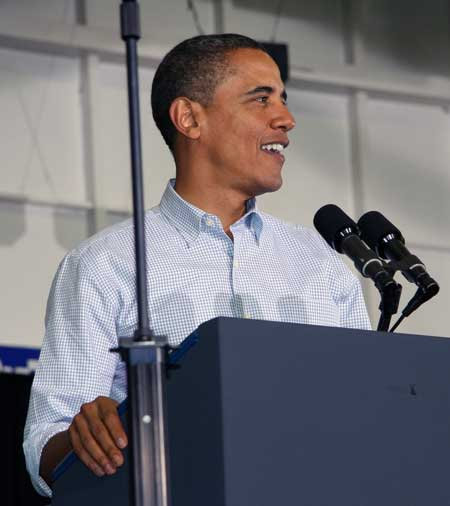 President Obama gives a speech using a pair of SM57 mics.