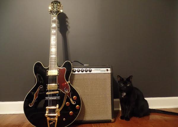 Sheraton P90 pictured with my 1976 Fender Vibrolux. Bill Furray insisted on staying in the picture.