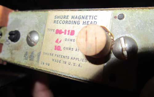 Shure 96-11B magnetic recording head