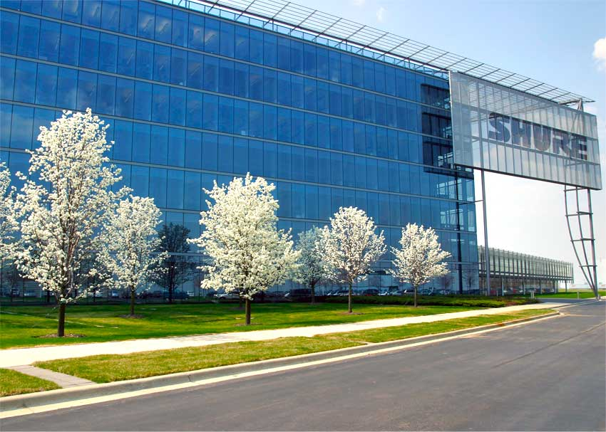 Shure's headquarters, located in Niles, IL.