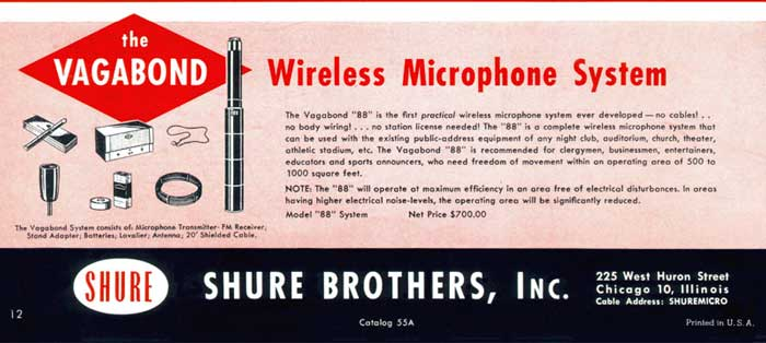 Clipping from a 1950s Shure catalog showing the Vagabond Wireless System. (Photo Credit: shureblog.co.uk)
