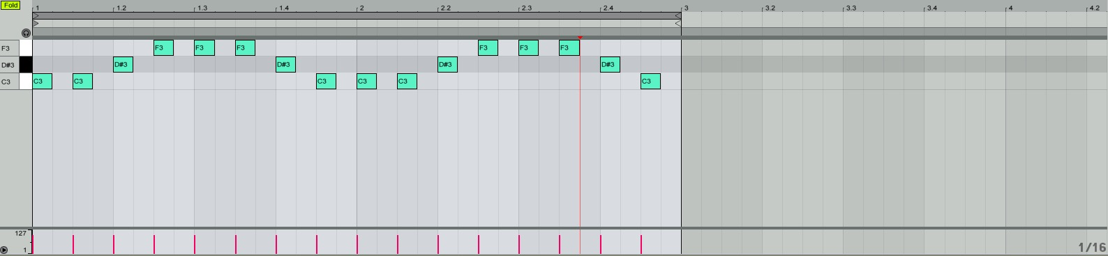 Main Bass Melody (C, D#, F)