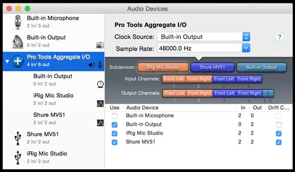 Audio MIDI Setup screenshot with iRig MIC Studio and Shure MV51