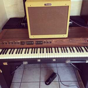 The vintage Yamaha CP70 electric piano in Walloch's home studio.