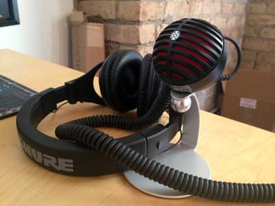 A Shure MV5 condenser and a pair of SRH440 headphones -- two thoroughly tested Shure products