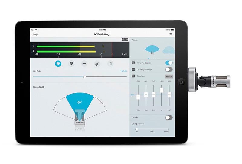 ShurePlus MOTIV mobile app advanced settings for the MV88