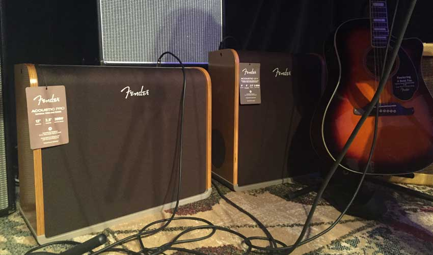 Fender Acoustic Pro and Acoustic SFX acoustic guitar amplifiers.