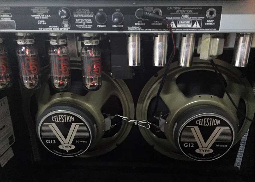 A pair of Celestion G12V-70 speakers loaded in a Fender '68 Custom Twin Reverb.