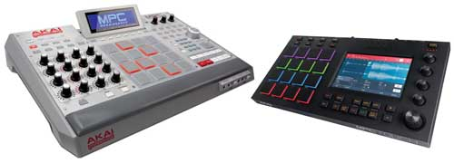 Left: Akai MPC Renaissance. Right: MPC Touch.