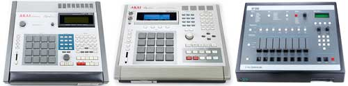Akai MPC60, Akai MPC3000, and E-mu SB1200