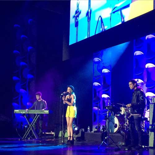 Halsey performing for Vevo in New York