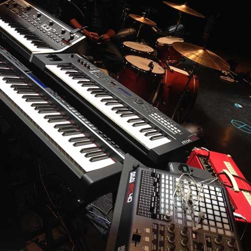 Spero's keyboard rig for Halsey: Yamaha CP4 stage piano, Yamaha MX49 synth, Moog Little Phatty synth, and Akai APC40 pad controller