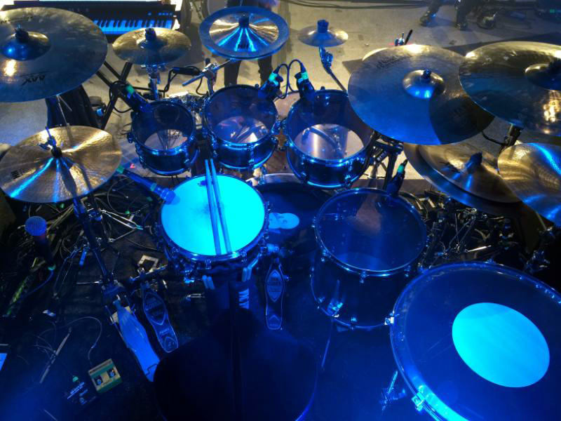 An overhead view of Blake Richardson's kit