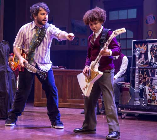 Alex Brightman as Dewey and Brandon Niederauer as Zack in School of Rock