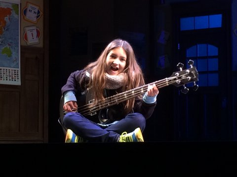 Evie with the Gibson SG Standard Bass she rocks in School of Rock - The Musical.