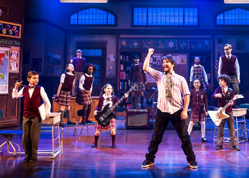 Evie Dolan, Alex Brightman, and the kids of School of Rock - The Musical