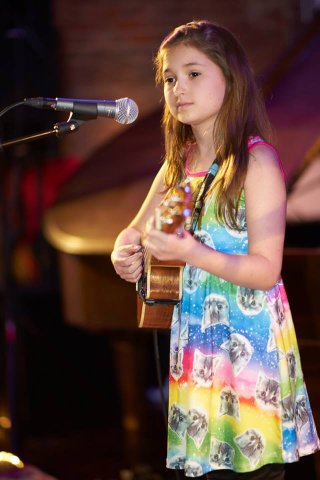 Evie on ukulele