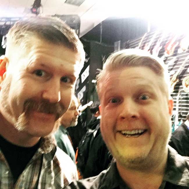Mastodon's Bill Kelliher poses for a photo with Corbin.