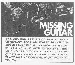 Jimmy Page Gibson Les Paul Black Beauty missing Rolling Stone ad