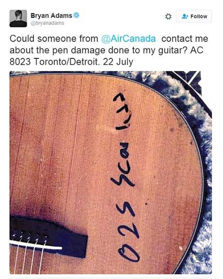 Bryan Adams guitar defaced