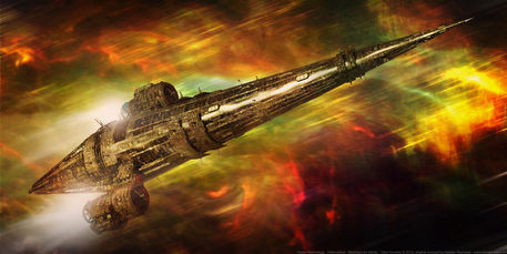 Artwork of the Nostalgia for Infinity Ship from the Revelation Space series