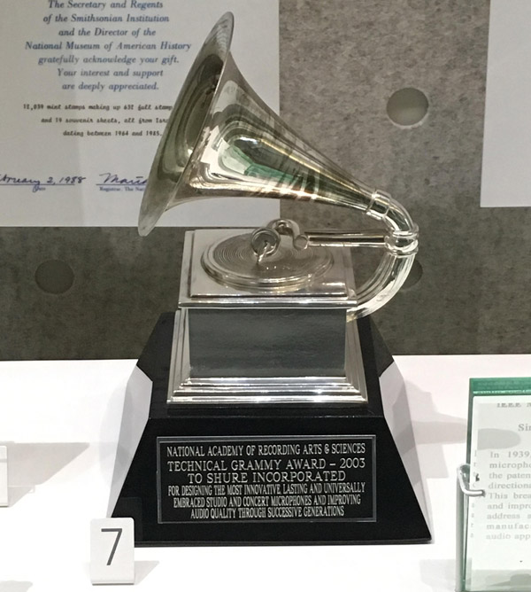 "A Technical Grammy awarded to Shure for ""designing the most innovative, lasting and universally embraced studio and concert microphones and improving audio quality through successive generations."""