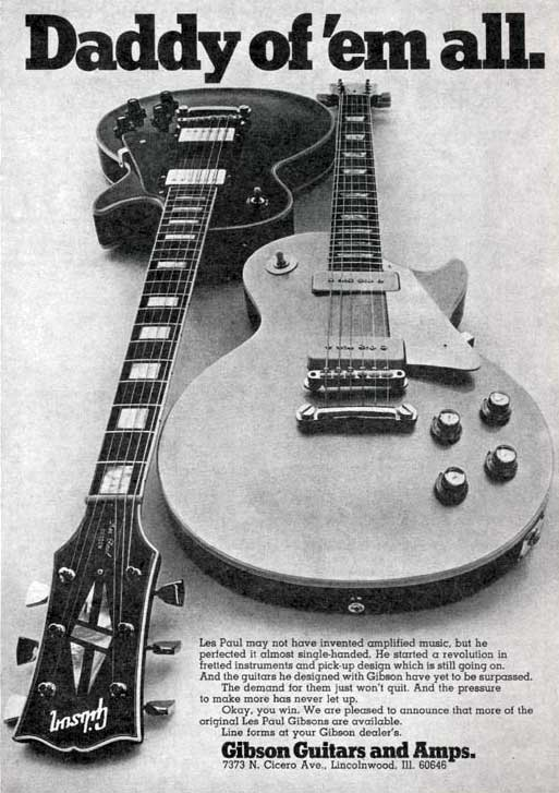 Ad promoting the re-release of the Les Paul Goldtop and Les Paul Custom in 1969