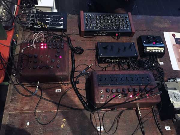 A closeup of Antenes' synth rig, featuring the Moog Werkstatt