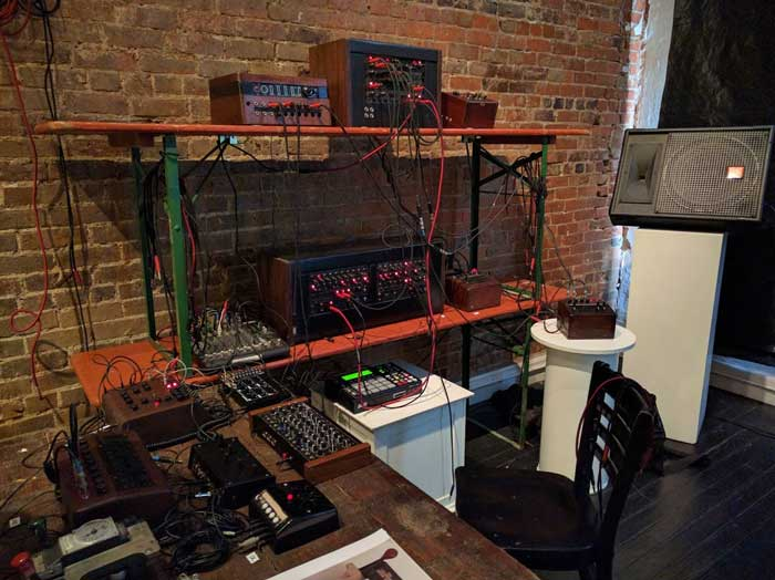 Another view of Antenes' synth setup