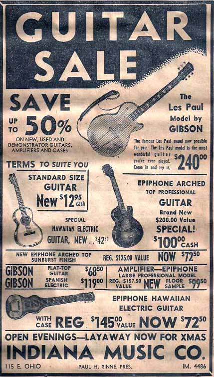 A guitar sale featuring Gibson and Epiphone guitars