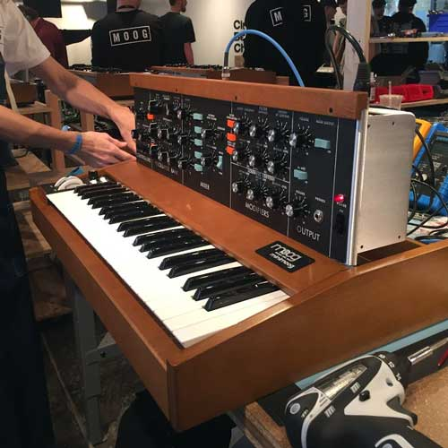 A Minimoog Model D Reissue being assembled at Moogfest 2016