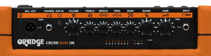Control panel of Orange Bass Crush 100