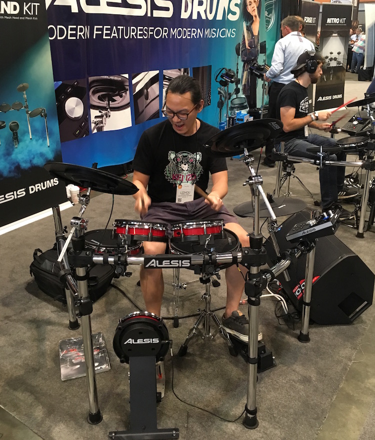 NAMMgoers try out Alesis' new e-drum kits!