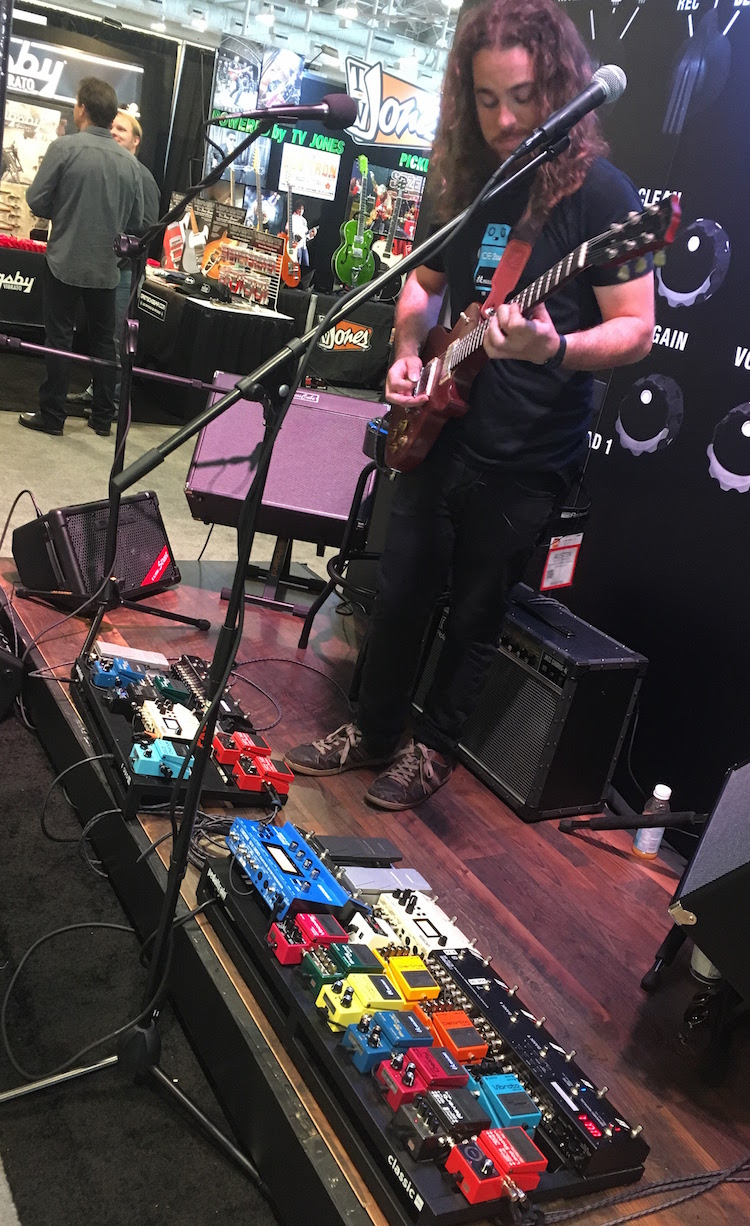 We got our ears rocked off at the Roland Boss booth with this all-Boss pedalboard.