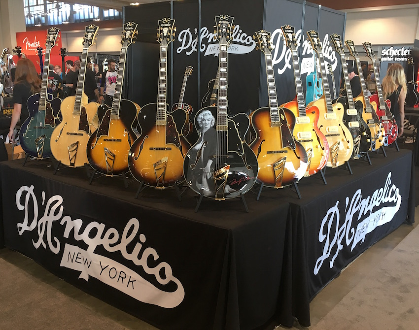 A Marilyn Monroe guitar...and more classic beauties on display at the D'Angelico booth.