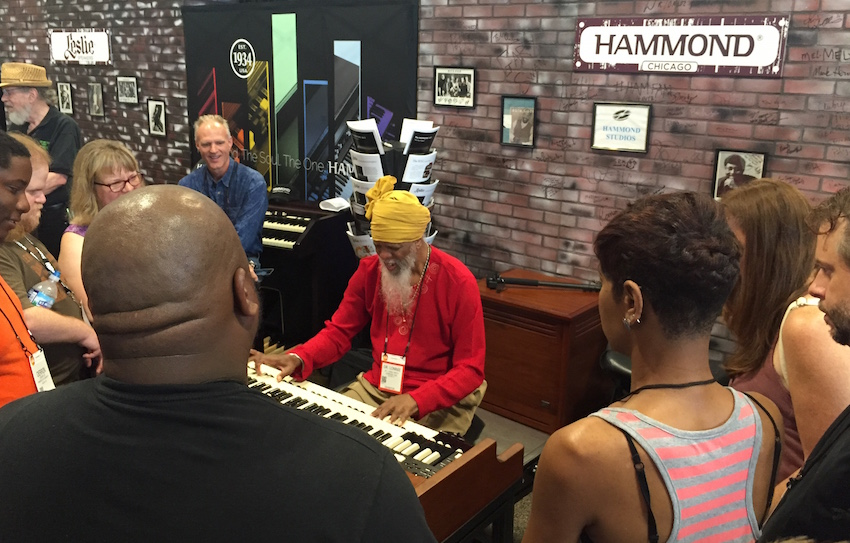 Over at the Hammond booth, we saw Dr. Lonnie Smith!