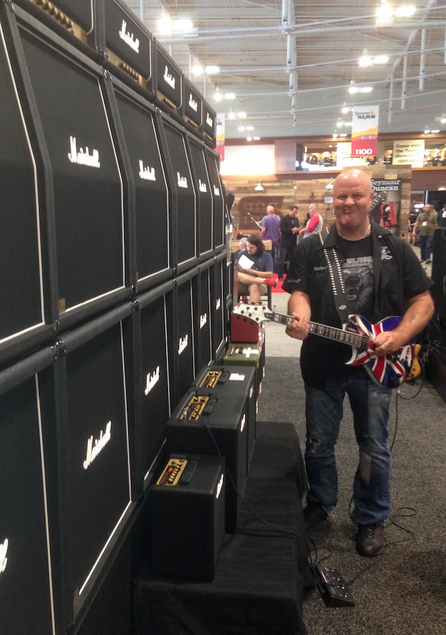 Grim Reaper's Nick Bowcott at the Marshall booth!